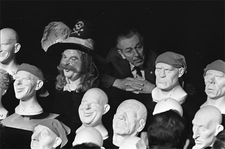 Walt Disney with some Pirates of the Caribbean heads