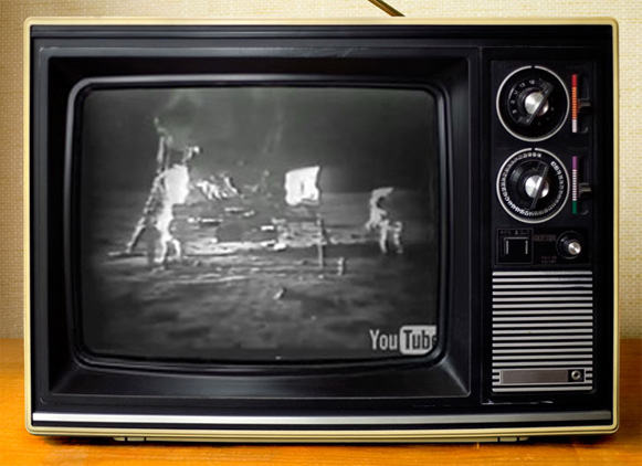 Moon landing live on TV