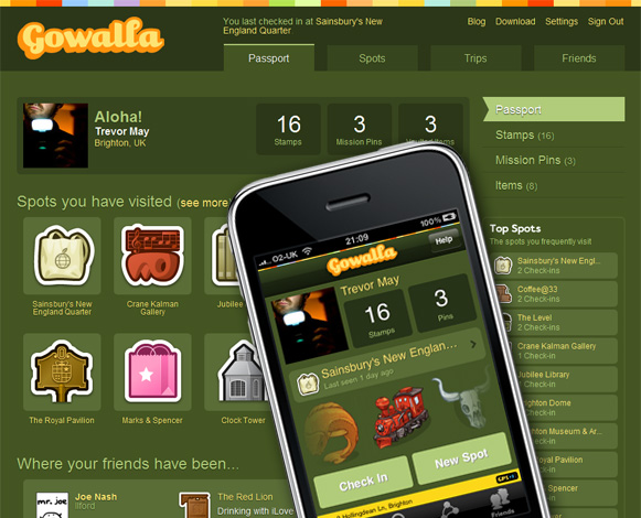 Gowalla web and iphone screenshots